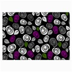 Purple roses pattern Large Glasses Cloth (2-Side) Front