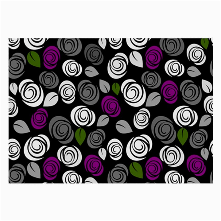Purple roses pattern Large Glasses Cloth (2-Side)