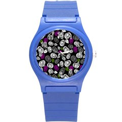 Purple Roses Pattern Round Plastic Sport Watch (s)