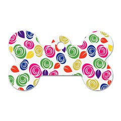 Colorful Roses Dog Tag Bone (one Side) by Valentinaart