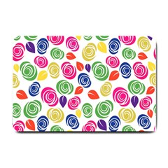 Colorful Roses Small Doormat  by Valentinaart