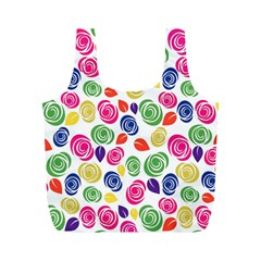 Colorful Roses Full Print Recycle Bags (m)  by Valentinaart