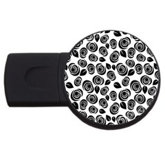 Black Roses Pattern Usb Flash Drive Round (2 Gb) by Valentinaart