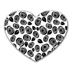 Black Roses Pattern Heart Mousepads by Valentinaart