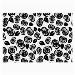 Black Roses Pattern Large Glasses Cloth (2 Side) by Valentinaart