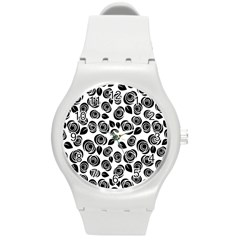 Black Roses Pattern Round Plastic Sport Watch (m) by Valentinaart