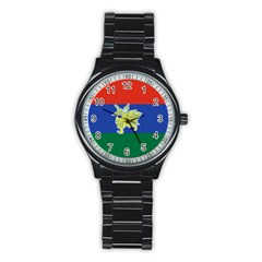 Flag Of Myanmar Kayah State Stainless Steel Round Watch by abbeyz71