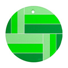 Green Shades Geometric Quad Ornament (round) by Nexatart