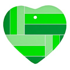 Green Shades Geometric Quad Ornament (heart) by Nexatart