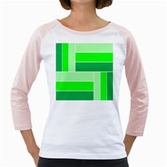 Green Shades Geometric Quad Girly Raglans