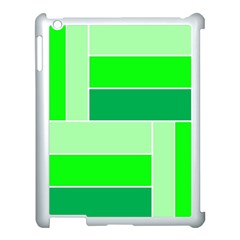 Green Shades Geometric Quad Apple Ipad 3/4 Case (white) by Nexatart