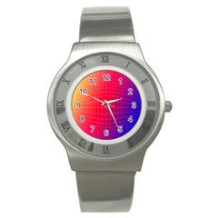 Grid Diamonds Figure Abstract Stainless Steel Watch by Nexatart