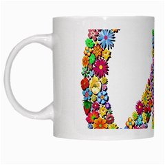 Groovy Flower Clip Art White Mugs
