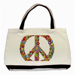 Groovy Flower Clip Art Basic Tote Bag