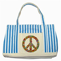 Groovy Flower Clip Art Striped Blue Tote Bag