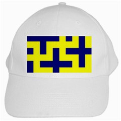 Pattern Blue Yellow Crosses Plus Style Bright White Cap by Nexatart