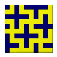 Pattern Blue Yellow Crosses Plus Style Bright Tile Coasters by Nexatart