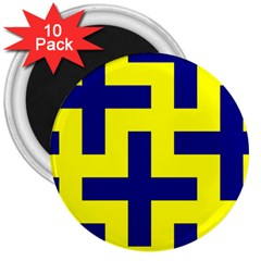 Pattern Blue Yellow Crosses Plus Style Bright 3  Magnets (10 Pack)  by Nexatart