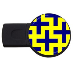 Pattern Blue Yellow Crosses Plus Style Bright Usb Flash Drive Round (4 Gb)