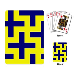 Pattern Blue Yellow Crosses Plus Style Bright Playing Card
