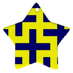 Pattern Blue Yellow Crosses Plus Style Bright Star Ornament (two Sides)