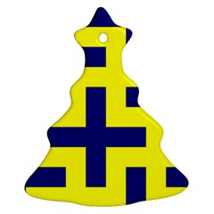 Pattern Blue Yellow Crosses Plus Style Bright Ornament (christmas Tree)