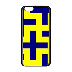 Pattern Blue Yellow Crosses Plus Style Bright Apple Iphone 6/6s Black Enamel Case