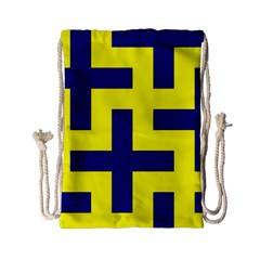 Pattern Blue Yellow Crosses Plus Style Bright Drawstring Bag (small) by Nexatart