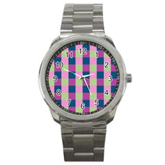 Pink Teal Lime Orchid Pattern Sport Metal Watch