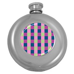 Pink Teal Lime Orchid Pattern Round Hip Flask (5 Oz) by Nexatart