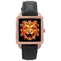 Tiger Rose Gold Leather Watch