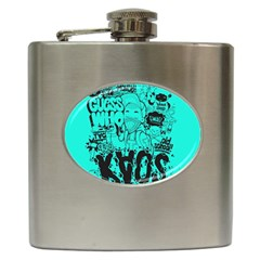 Typography Illustration Chaos Hip Flask (6 Oz) by Nexatart