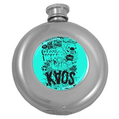 Typography Illustration Chaos Round Hip Flask (5 Oz) by Nexatart