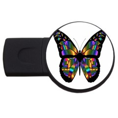 Abstract Animal Art Butterfly Usb Flash Drive Round (4 Gb) by Nexatart