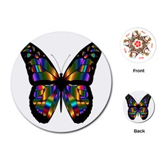 Abstract Animal Art Butterfly Playing Cards (round)