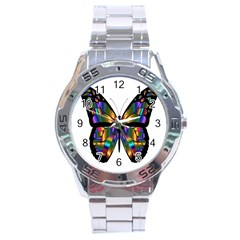 Abstract Animal Art Butterfly Stainless Steel Analogue Watch