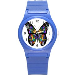 Abstract Animal Art Butterfly Round Plastic Sport Watch (s)