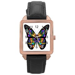 Abstract Animal Art Butterfly Rose Gold Leather Watch