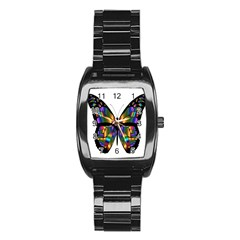 Abstract Animal Art Butterfly Stainless Steel Barrel Watch