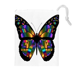 Abstract Animal Art Butterfly Drawstring Pouches (extra Large) by Nexatart