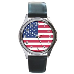 American Flag Round Metal Watch