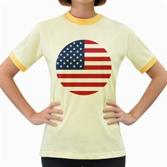 American Flag Women s Fitted Ringer T Shirts