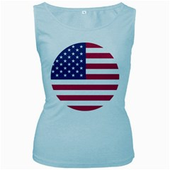 American Flag Women s Baby Blue Tank Top