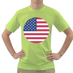 American Flag Green T Shirt