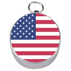 American Flag Silver Compasses