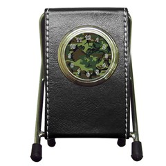 Camouflage Green Brown Black Pen Holder Desk Clocks by Nexatart