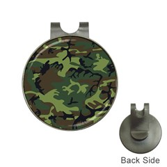 Camouflage Green Brown Black Hat Clips With Golf Markers