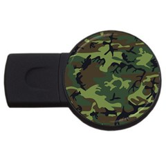 Camouflage Green Brown Black Usb Flash Drive Round (4 Gb) by Nexatart