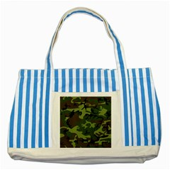 Camouflage Green Brown Black Striped Blue Tote Bag