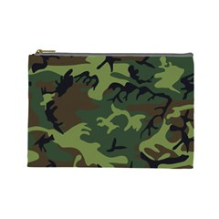 Camouflage Green Brown Black Cosmetic Bag (large)  by Nexatart